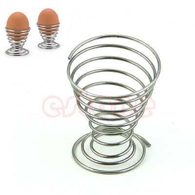 2Pcs Metal Spring Wire Tray Egg Cup Boiled Eggs Holder Stand Storage