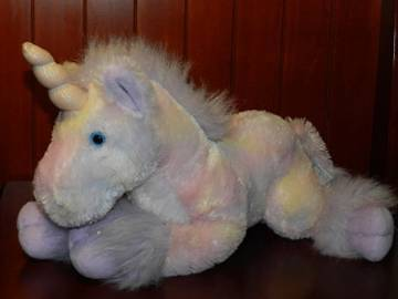 "RUSS Pink Purple Yellow UNICORN Plush Stuffed Animal Figure 14"" Tie Dye Sparkle"