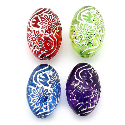 """400PCs Acrylic Spacer Beads Flower Carved Oval Mixed 5/8""""x 3/8"""""""