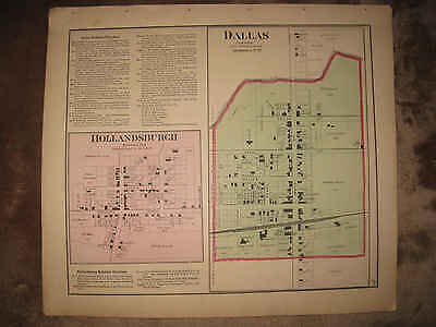 Antique 1875 Ansonia Hollansburg Darke County Ohio Handcolored Map Dallas Rare N