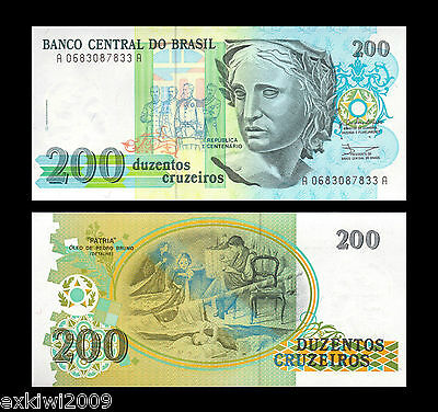 Brazil 200 Cruzeiros 1990 P-229 Mint UNC Uncirculated Banknotes