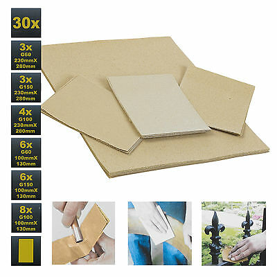 30 x Kinzo Wet & Dry Sandpaper Sheets Assorted Sizes Course Medium Fine Grits
