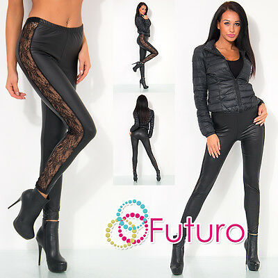 Black MAT Wet Look Full Ankle Length Leggings Lace Eco Leather Sizes 8-20  LPX