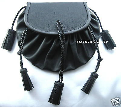 Kilt Highland Drawstring Jacobite Pouch In Black Leather Five Tassels For Kilts