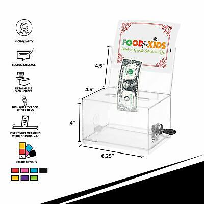 "Adir Corp. Acrylic Suggestion, Donation & Ballot Box, 6.25""x4.5""x4"" #637 Lock"