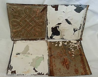 "4 6"" x 6""  Antique Tin Ceiling Tiles *SEE OUR SALVAGE VIDEOS* Bb8 White & Olive"