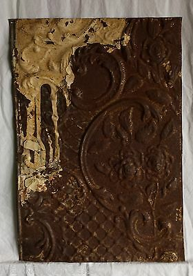"12""x 17.5"" Antique Tin Ceiling Tile*SEE OUR SALVAGE VIDEOS* Vintage Rust Rose C4"
