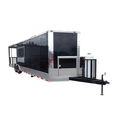 Concession Trailer 8.5'x30' Black - Smoker Food Catering