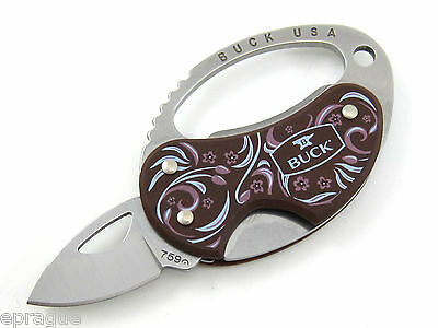 BUCK 759RDS1 759 RED PAPERSTONE METRO SMALL KEY CHAIN KNIFE TOOL BOTTLE OPENER