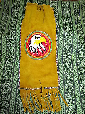 Native American Leather Tanned Handbag 16 Inches Long Round Beaded Eagle Head