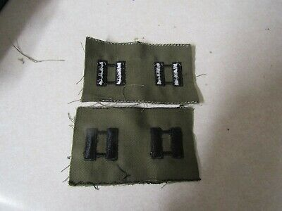 Genuine Us Army Set Of 2 Sew On Captain Rank Od Green Older Combat Used