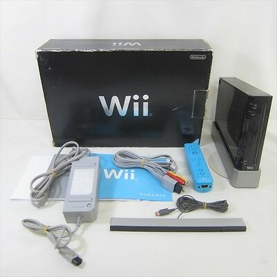 Nintendo Wii Black Console System Boxed RVL-001 Working Tested JAPAN Game 2463