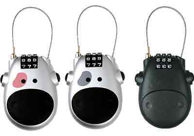 Retractable Stylish Cow Face Padlock Secure Lock Buggy Push Chair Bike Bicycle