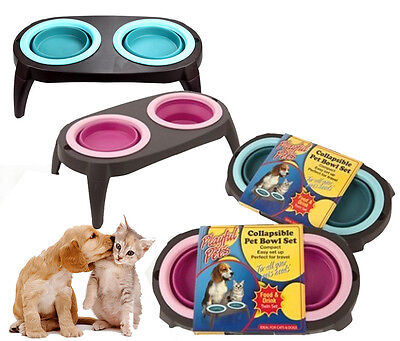 Dog Cat Puppy Kitten Collapsible Pet Feeding Bowl Twin Set Food Drink Water
