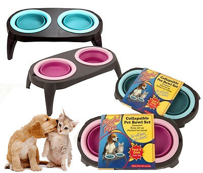 Dog Feeding Bowl Double Collapsible Pet Cat Food Drink Water Twin Indoor Travel