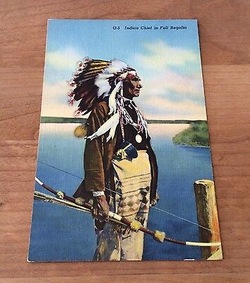 INDIAN CHIEF IN FULL REGALIA Vintage Postcard UNPOSTED