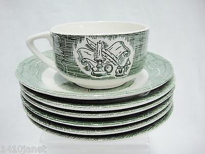 Royal China Old Curiosity Shop Lot of 6 Saucers and 1 Cup Green