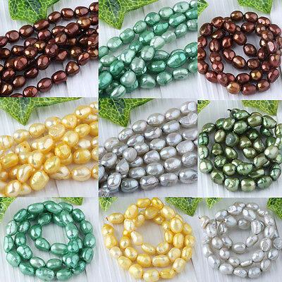 """40PCS 8x9MM CULTURED FRESHWATER MARRON PEARLS LOOSE BEADS 14""""L WHOLESALE"""