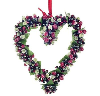 Heart Christmas Decoration Hanging Artificial Red & Green Frosted Berry
