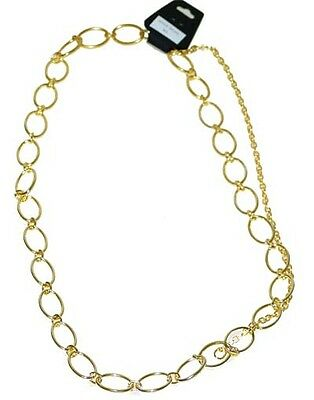 #ch23 - Gold Ovals Chain Fashion Belt For Women, 2 Sizes To Fit Most