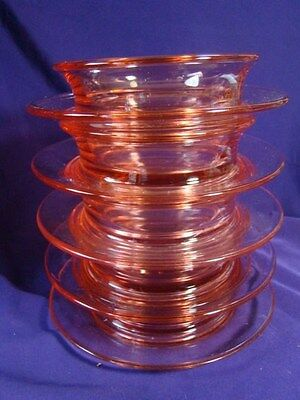 5 MARKED US GLASS TIFFIN PINK BOWLS w/ UNDERPLATE Ceral Soup or Mayonnaise Sauce