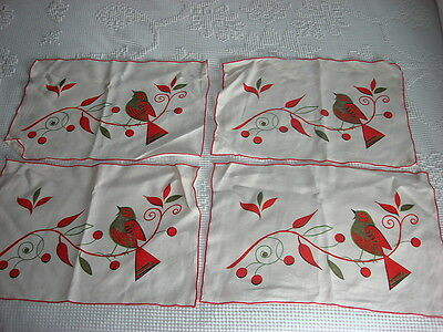 Vintage Set of 4 LINEN PLACEMATS Gold Bird on Branch w/ Red Berries