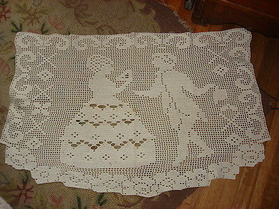 "Vintage Crocheted Large Doily COLONIAL COUPLE 33""X20"""