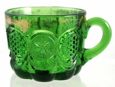 EAPG - U.S. Glass - THE STATES pattern - Custard / Punch Cup -Emerald Green