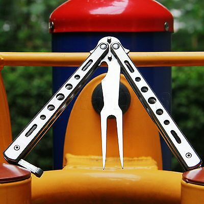 Silver Metal Steel Practice BALISONG BUTTERFLY Trainer Training Fork Knife Tool