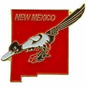 Us New Mexico State Roadrunner Map Pin Badge