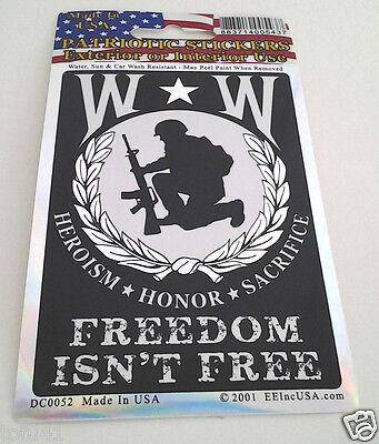 WOUNDED WARRIORS  FREEDOM ISN'T FREE Military Veteran Window  DECAL DC0052 EE