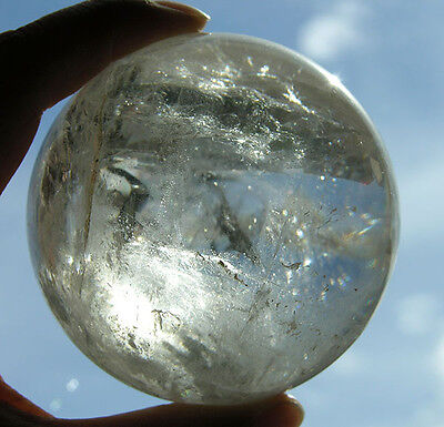 72 mm Gorgeous Rainbows Clear Quartz Crystal Sphere Ball from Brazil Healing