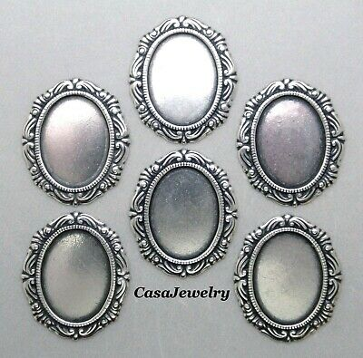 #1152 ANTIQUED SS/P 18X13MM FILIGREE BORDERED BEZEL- NO/RING - 6 Pc Lot