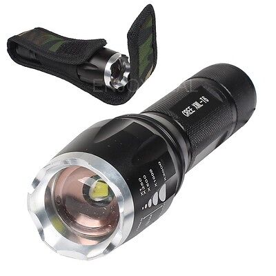 High Quality 2000 Lumen Cree XML T6 LED Zoomable Focus Flashlight Torch+Holder