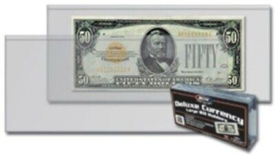 Pack of 50 BCW Older Large Dollar Bill  Deluxe Semi Rigid Vinyl Currency Holders