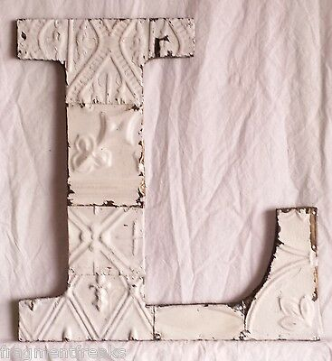 """Large Antique Tin Ceiling Wrapped 16"""" Letter 'L' Patchwork Metal Mosaic White"""