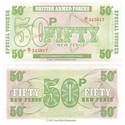 British Armed Forces 1972 50 Pence 6th Series Mint UNC Banknotes