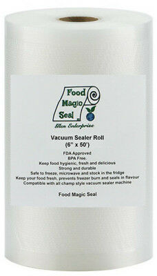 "6""x50' Rolls 4 mil Food Magic Seal for Vacuum Sealer Food Storage Bags!"