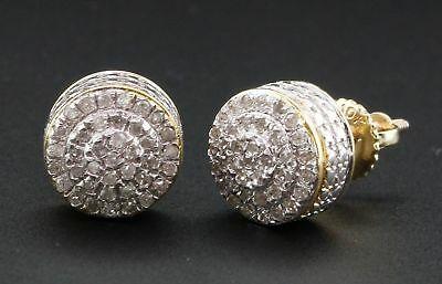 Diamond Stud Earrings 10K Yellow Gold Mens Ladies Round Cube Circle 0.26 Ct.
