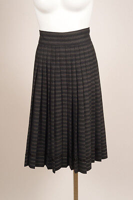Marc Jacobs Gray Brown Striped Wool Box Pleated Mid-Length Skirt SZ 4