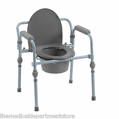 Drive Folding Steel Commode RTL11148KDR with Bucket and Splash Guard