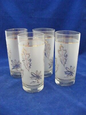 4 Retro Frosted Glasses Leaf Pattern Gold Trim