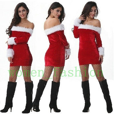 HOT Sexy Womens Red Christmas Xmas Party Costume Fancy Dress Outfit Size M-2XL