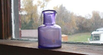 "1860s TINY 1 3/4""AMETHYST PURPLE HAND BLOWN INK BOTTLE DUG IN 1860s PRIVY"