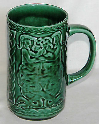 Vintage Large Green Celtic Mug - Arklow Pottery, Co. Wicklow, Ireland