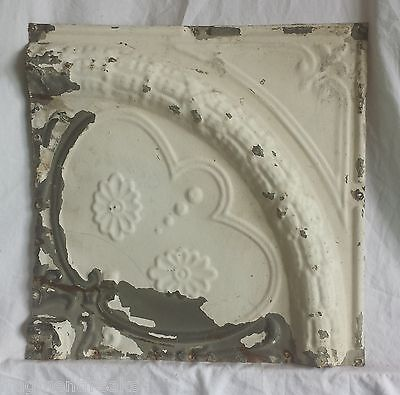 "12"" x 12"" Antique Tin Ceiling Tile *SEE OUR SALVAGE VIDEOS* Vintage Ivory Ax18"