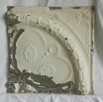 "1890's Reclaimed 12"" x 12"" Antique Tin Ceiling Tile Vintage Ivory Ax18"