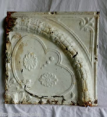 "1890's 12"" x 12"" Antique Tin Ceiling Tile  Vintage Ivory Ax17 Reclaimed Metal"