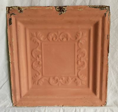 "12"" x 12"" Antique Tin Ceiling Tile *SEE OUR SALVAGE VIDEOS* Vintage Pink FM5"