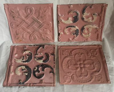 "Reclaimed 4 6"" x 6""  Antique Tin Ceiling Tiles By34 Pink"
